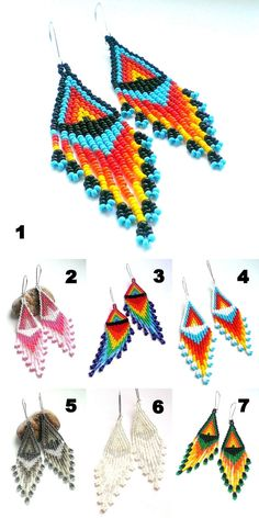 Long Seed Bead Earrings Native American Style  Long от Galiga