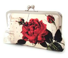 Clutch bag, silk purse, red white and cream, bridal accessory, bridesmaid gift, RUBY ROSE