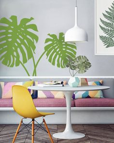 Cheese plant wall sticker decal vinyl wallpaper house plant. Image courtesy of Inkmill Vinyl