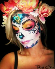 Sugar Skull Makeup, Sugar Skull Art, Sugar Skulls, Halloween Makeup Looks, Halloween Make Up, Halloween Ideas, Mom Costumes, Halloween Costumes, Day Of Dead Makeup