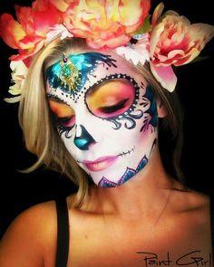 Halloween Makeup Looks, Cool Halloween Costumes, Halloween Make Up, Halloween Ideas, Sugar Skull Makeup, Sugar Skull Art, Sugar Skulls, Day Of Dead Makeup, Catrina Costume