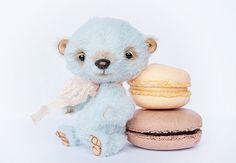 Blue Macaroon Artist Teddy Bear OOAK