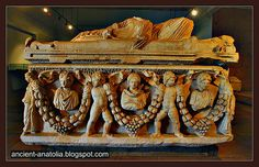 3rd Century Roman sarcophagus of Pamphylia at Archaeology Museum of Konya.
