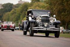 A 1933 Duesenberg Model SJ Beverly Berline by Murphy on the Long Walk in Windsor for the Windsor Castle Octane Jubilee Tour.