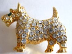 Brooch Pin Crystal Clear Rhinestone Studded by FloridaPickinAndArt