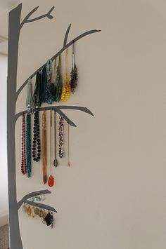 DIY jewelry display- a tree for hanging necklaces painted on the wall! http://beautyandbeard.blogspot.com/