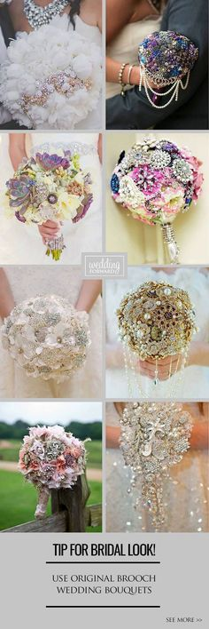 24 Chic Brooch Wedding Bouquets With Bling ❤ They will stay in great condition for years unlike fresh flowers and be a reminder about this day. Broschen Bouquets, Diy Bouquet, Bling Bouquet, Purple Bouquets, Bridesmaid Bouquets, Peonies Bouquet, Trendy Wedding, Dream Wedding, Wedding Day
