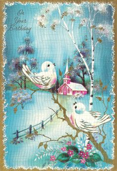 Vintage Wintery Birthday Card