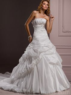 A-line Strapless Sleeveless Taffeta Wedding Dress