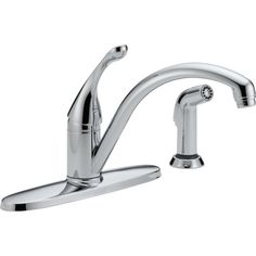 Delta Faucet 440-DST Collins Polished Chrome  One Handle with Sidespray Kitchen Faucets |eFaucets.com