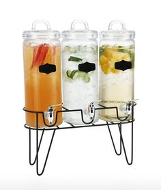 Simple Flow - 3 Piece Mason Jar Glass Drink Beverage Dispenser - gallons each Drink Dispenser, Beverages, Drinks, Glass Containers, Popcorn Maker, 3 Piece, Mason Jars, Kitchen Appliances, Simple