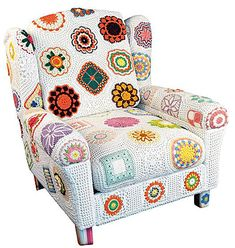 """Cro. upholstery? An afgan is easier. A sampler w/ all white background looks nice, but -- Lots of regular cleaning will be needed. Pretty but Not very practical. Also Cro. streches. I made Filet Cro. arm covers & matching piece for resting ones head. The head piece grew from 2' 6"""" to over 5' long, over time. I don't think Cro. would work as upholstery even w/ much very careful blocking. This looks like they did it but I wonder what it looked like after a week of people sitting in it."""