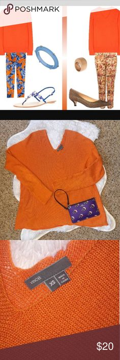 Vince orange v neck Knitt sweater Size xs Great condition  Vince brand Vince Sweaters V-Necks