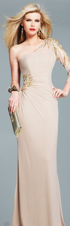 One Long Sleeve Evening Gown by Faviana #oneshoulder