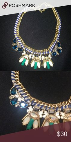 J. Crew statement necklace This necklace looks fantastic against darker shades! It's big and beautiful and the perfect thing to spice up and plain dress or blouse! Comes with duster bag J. Crew Jewelry Necklaces