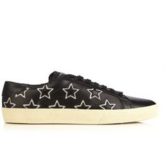 Saint Laurent Court Classic star-appliqué leather trainers ($322) ❤ liked  on Polyvore featuring shoes, sneakers, black silver, leather footwear, black  and ...