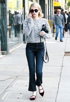 Cropped flares with velvet flats and a cable knit sweater.