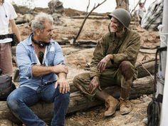 Mel Gibson with Andrew Garfield on location Hacksaw Ridge #Oscars #Platinum #SableFilms