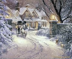 (usa) Wintertime by Thomas Kinkade born in California. Christmas Scenes, Christmas Art, Winter Christmas, Vintage Christmas, Winter Szenen, Winter Magic, Winter Time, Winter Season, Thomas Kinkade Art