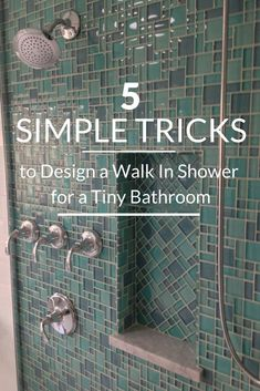 "Bathroom Remodel 5 Simple Tricks to Design a Walk in Shower for a Tiny Bathroom Even if you have a tiny bathroom it doesn't have to ""live"" that way. Check out these 5 simple to add more style, light and interest to your bathroom with a walk in shower. Tiny Bathrooms, Cheap Bathrooms, Small Bathroom, Bathroom Ideas, Bathroom Organization, Peach Bathroom, Bathroom Storage, Shower Ideas, Bathroom Cabinets"