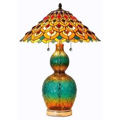 """25.5"""" STAINED GLASS PEACOCK & FLOWERS TABLE LAMP #15037 TIFFANY STYLE FEATHERS #RiverofGoods #StainedGlass"""