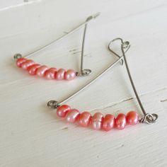 Nickel free earrings salmon pink pearl chandelier - Handmade by Nonita - nickel free jewelry