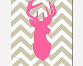 Modern Chevron Deer Head Silhouette Print - 8x10 Chevron Zig Zag - Pick Your Colors - Hot PInk, Yellow, Taupe, Black, Gray