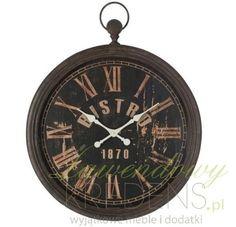 Duży zegar w stylu vintage o ciemnej, metalowej ramie