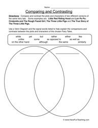 Comparing and Contrasting Worksheet 1 | Future SLP | Compare ...