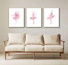 Set of 3 Ballerina Digital Ballerina Pink Ballerinas by QPrints