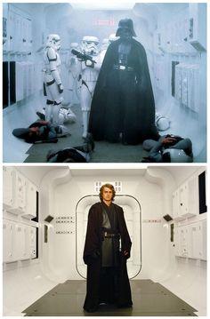 Hayden Christensen (Anakin Skywalker) pose dans le même couloir que Dark Vador, des années avant.