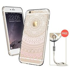 iPhone 6 Plus Case, iPhone 6 Plus Clear Case Pink Henna, ESR Totem Series Hybrid Case TPU Bumper +Hard PC Back Cover Protective Case for iPhone 6 Plus (Pink Manjusaka) - Connect and Be