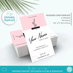 Editable Floral Minimal Business Card Template 2 Sizes | Etsy Minimal Business Card, Elegant Business Cards, Business Card Design, Tag Design, Label Design, Beauty Shop, Diy Beauty, Printable Business Cards, Label Templates