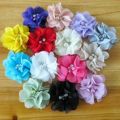 Beautiful tulle rhinestone flowers for hair accessories diy from Marbella Kids