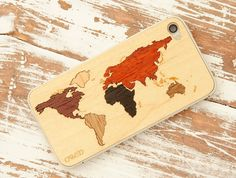 World Map Inlay iPhone 4/4S Real Wood Skin #map