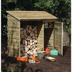 This Forest Garden Wooden Log Store and Tool Storage Shed features an innovative design that allows you to keep your fire wood and relevant tools all in one convenient place, neatly and safely secured. This strong and sturdy wooden storage shed offers am Garden Tool Shed, Garden Tool Storage, Shed Storage, Garden Sheds, Extra Storage, Storage Ideas, Firewood Shed, Firewood Storage, Into The Woods