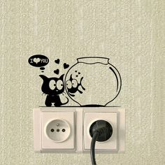 Cheap switch sticker, Buy Quality wall sticker directly from China decorative wall stickers Suppliers: Cat And Fish Aquarium Funny Animals Switch Stickers Vinyl Decor Wall Sticker Simple Wall Paintings, Creative Wall Painting, Wall Painting Decor, Diy Wall Art, Wall Art Designs, Paint Designs, Cat Safe Plants, Vinyl Decor, Wall Drawing