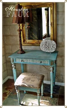 Love the metalic touches on this vanity...Faux Painting + Furniture