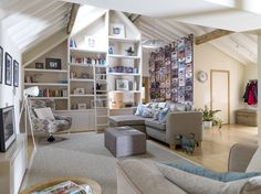 Contemporary Living Area, Built-in cabinetry. By Cotton Tree Interiors UK
