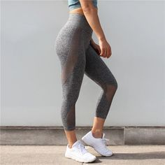 Sportswear Woman Gym Leggings For Fitness Sports Women's Leggins Clothing Capris Mesh Training Women Trousers Mesh Yoga Leggings, Women's Sports Leggings, Sport Tights, Yoga Capris, Seamless Leggings, Sport Pants, Capri Leggings, Workout Leggings, Workout Pants