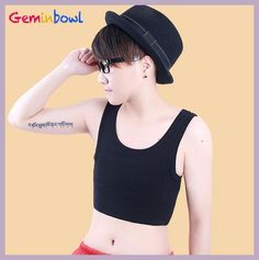 Geminbowl sport cosplay Les pullover tank top short Bustiers Chest Binder Tomboy cotton Undershirt with elastic band