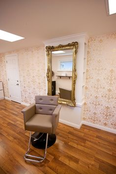 pale pink, gold mirror, salon