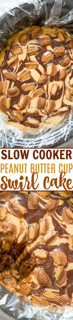 Slow Cooker Peanut Butter Cup Swirl Cake - Yellow cake  is spiked with peanut butter, hot fudge, topped with a peanut butter glaze, more hot fudge, and sprinkled with peanut butter cups!! It's rich, decadent, SO EASY, and made in a slow cooker!!