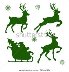 set of silhouettes of Christmas reindeer and Santa Illustration , Christmas Wood Crafts, Christmas Yard, Christmas Stockings, Christmas Decorations, Santa Sleigh, Santa And Reindeer, Rennes Animal, Reindeer Silhouette, Paper Crafts Origami