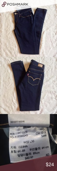"💖Levi's Skinny Dark Wash Dark wash Levi's Low Waist skinny jeans. Waist 25"" Length 30"" Wear with anything and dress them up or down 💝 Levi's Jeans Skinny"