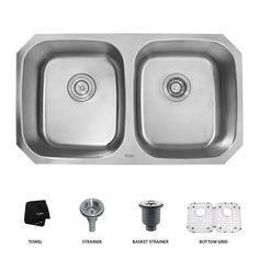 KRAUS | 32 In. Undermount 50/50 Double Bowl 16 Gauge Stainless Steel Kitchen