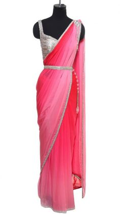 Pink Saree with Crystal Embellishment | Strandofsilk.com - Indian Designers