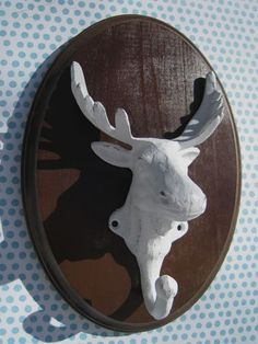 Your place to buy and sell all things handmade Wood Plaques, Taxidermy, Wall Hooks, Painting On Wood, Laundry Room, Cast Iron, Moose, Wall Art, Cool Stuff