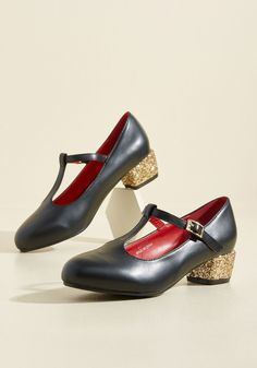 That Certain Sparkle Heel in Night. There's something in the way these faux-leather heels move that makes your heart skip a beat! #black #wedding #bridesmaid #modcloth