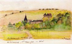 "lawrenceleemagnuson:  ""Camille Pissarro (France 1830-1903)  Landscape at Hébécourt (1890)  watercolor and charcoal on paper 13 x 21.8 cm  """